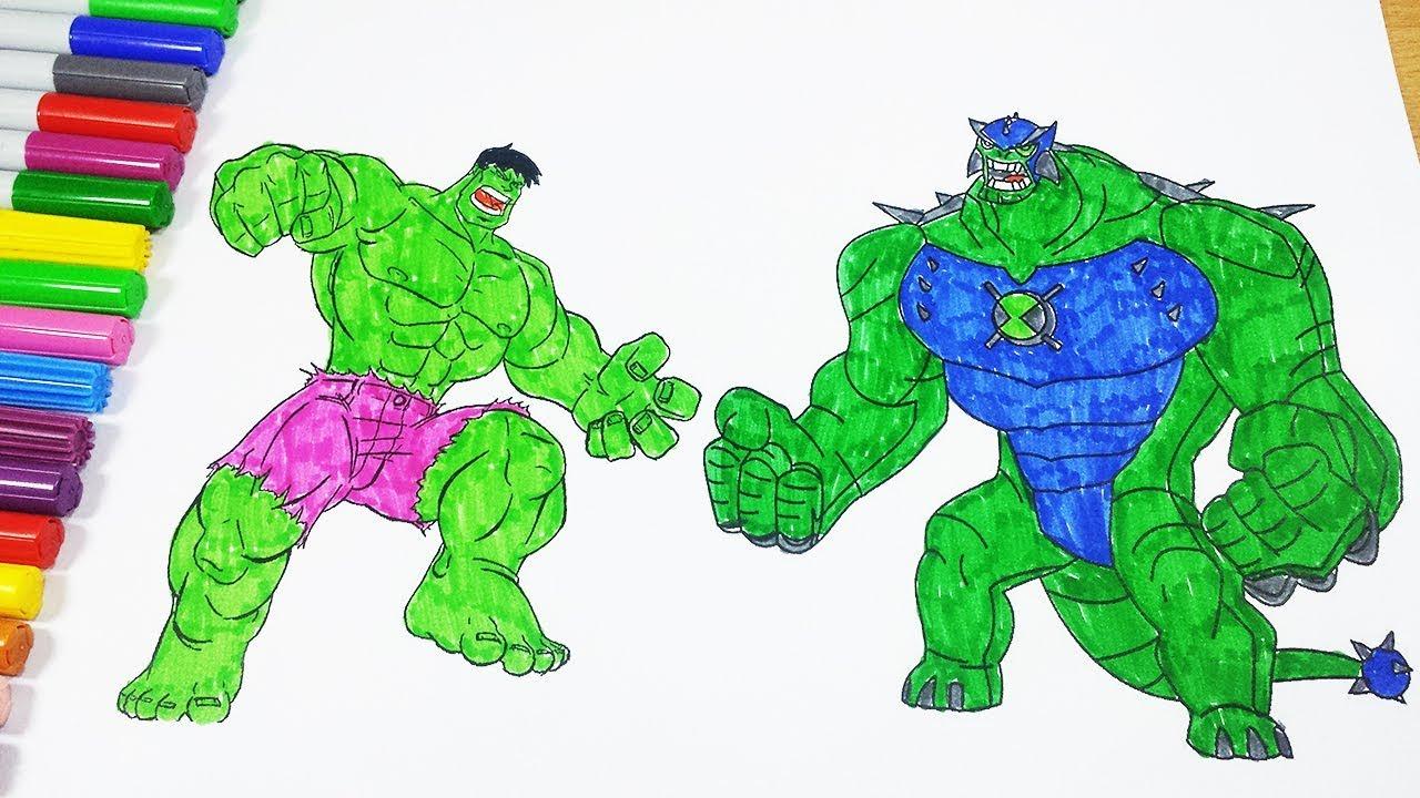 Coloring Pages Ben 10 Ultimate Humungousaur And Hulk Ben 10
