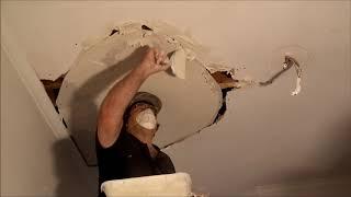 Large Hole in Plaster Ceiling Repair