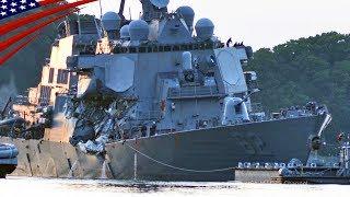 衝突した米イージス艦の横須賀への曳航と船内捜索準備