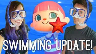 Animal Crossing Swimming! Luke vs Ellen Diving Challenge - Let's Play ACNH Swimming Update