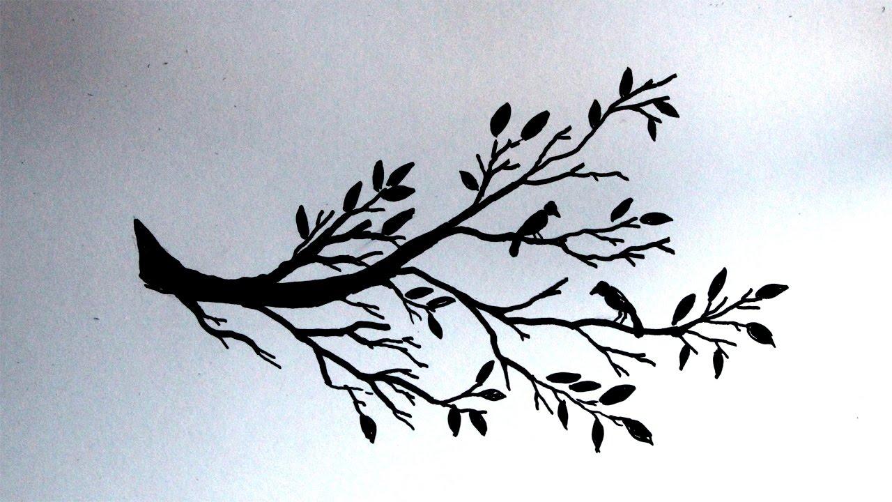 Cara Menggambar Siluet Pohon Dan Burung Youtube