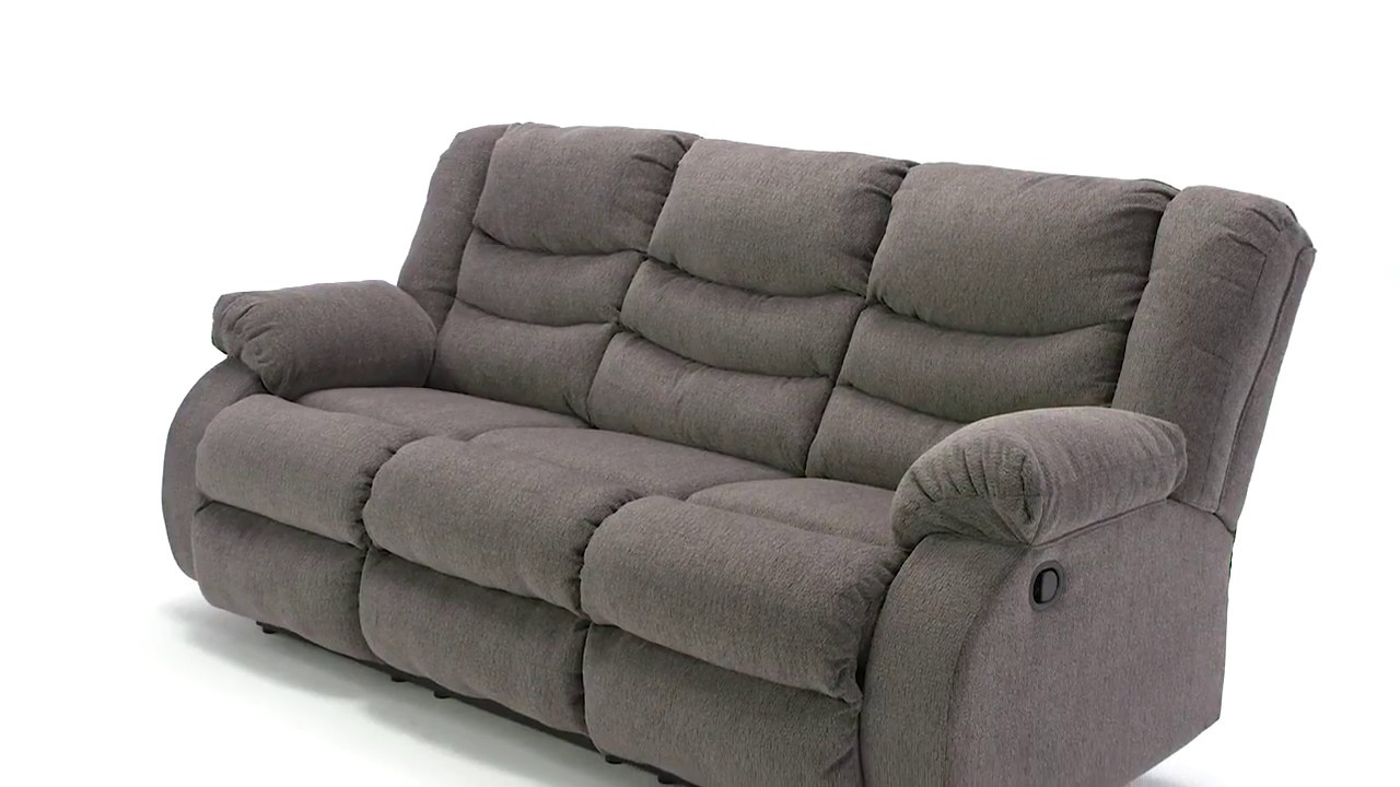 Tulen Gray Reclining Sofa From Signature Design By Ashley Youtube
