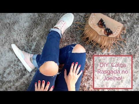Faça Você Mesmo (DIY): Calça Rasgada no joelho ( Ripped Knee Jeans) / karoline Zambelli