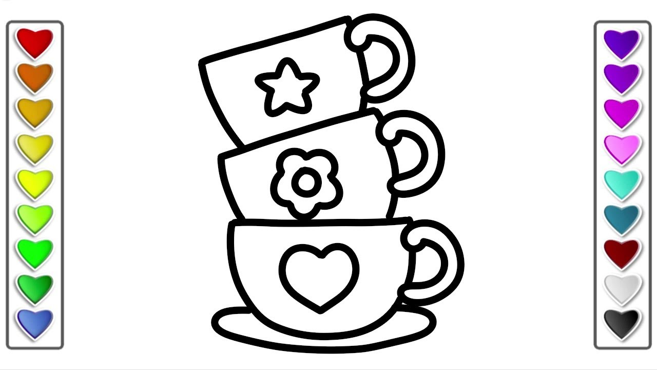 How to draw a Cute Cup of Coffee l Drawing and Coloring Pages Learn ...