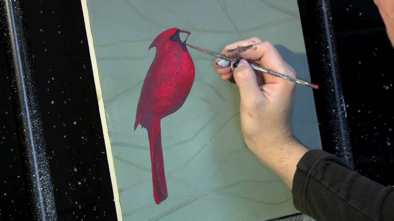 Time Lapse Acrylic Painting Cardinal on the Branch by Tim Gagnon  http://www timgagnon com