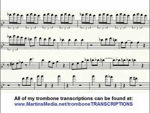 JJ Johnson Blues For Trombone Transcription Transcribed Solo