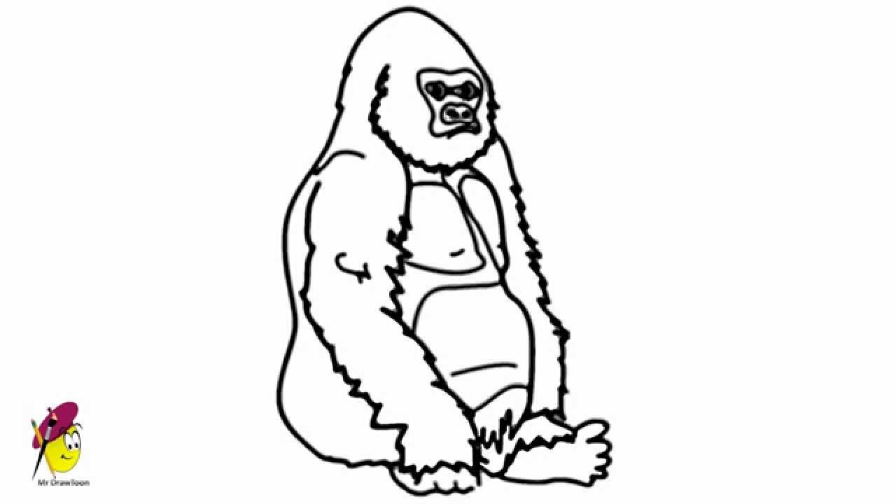 Gorilla - Easy Drawing - How to draw a Gorilla - YouTube