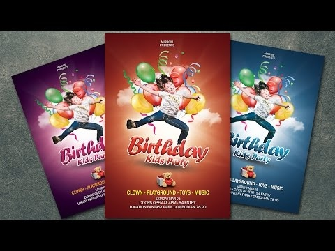 Photoshop Tutorials How To Create a Birthday Party Kids Flyer In