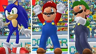 Mario & Sonic At The Olympic Winter Games: All WINNING and GOLD MEDAL Animations