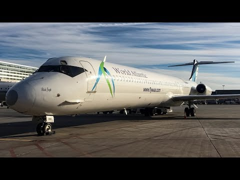 *Ramp view!* World Atlantic MD-83 taxiing into the gate in Montreal (YUL, CYUL)