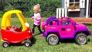 Little Girl Elis Ride On Pink Jeep Power Wheel with Cozy Coupe Little Tikes and Dolls Crew
