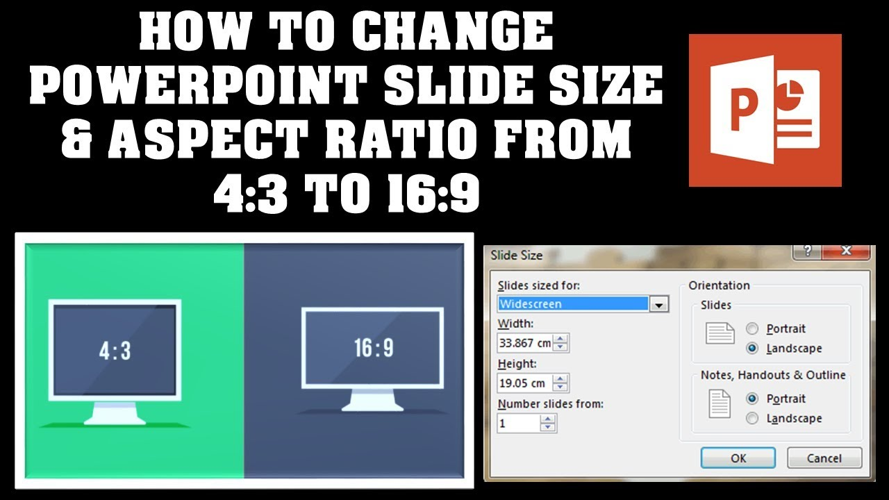 how to change powerpoint slide size aspect ratio from 4 3 to 16 9