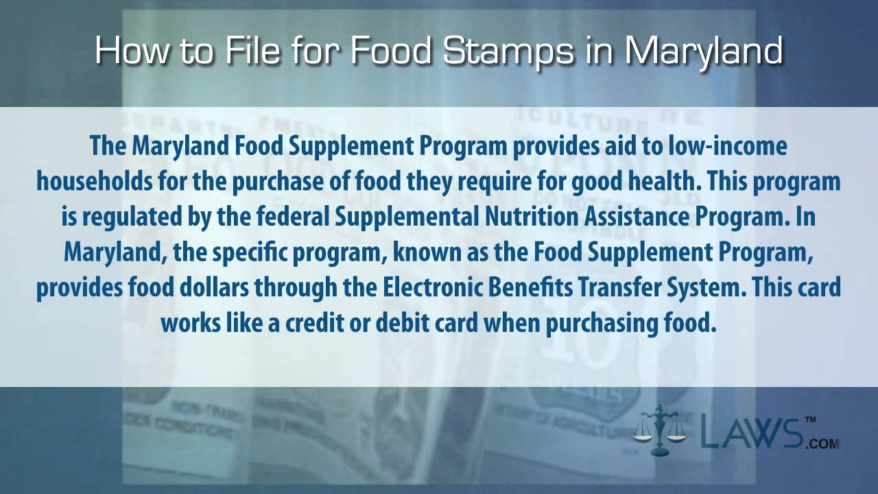 How To File For Food Stamps Maryland Youtube