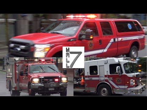 Vancouver Fire & Rescue Services - E-8 (Spare), BC-1 (Spare) & WL-22 Responding