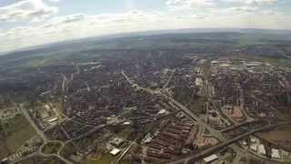 Hildesheim, Überflug von Ost nach West.