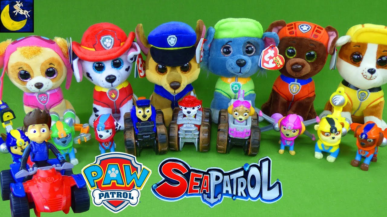 LOTS of Paw Patrol Sea Patrol Toys! My Size Lookout Tower Sea Patroller  Boat Pup TY Beanie Boos Toys 687aa376bb2