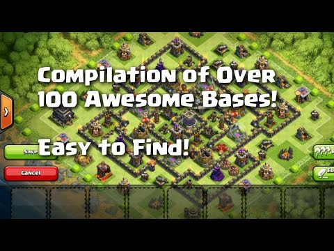 Clash of Clans - Compilation of Over 100 Awesome Bases! Easy to Find!