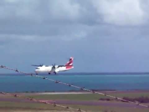 ATR Air Mauritius landing in Rodrigues(FIMR)