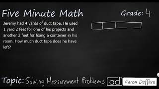 4th Grade Math Solving Measurement Problems