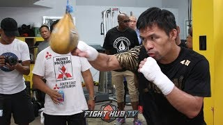 MANNY PACQUIAO TRAINING HEAD MOVEMENT FOR KEITH THURMAN IN FINAL WORKOUT BEFORE FIGHT