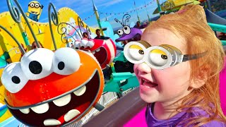 ADLEY iS A MINION!! Family Vacation at Fun Land Amusement Park, new rides and games, Baby Niko WINS!