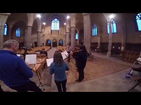 Rehearsing Telemann Concerto for trumpet, violin, cello, strings & continuo in D TWV53:D5