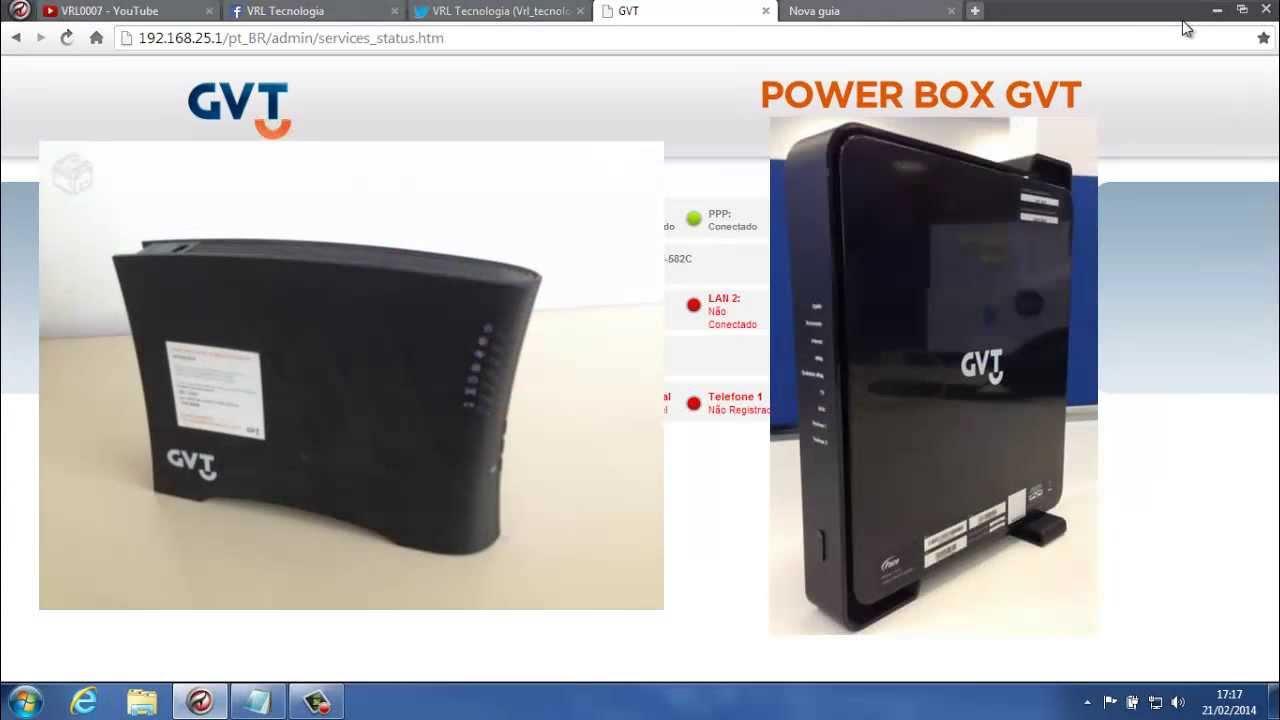 Como Configurar O Novo Power Box Gvt Pace V5471 Youtube