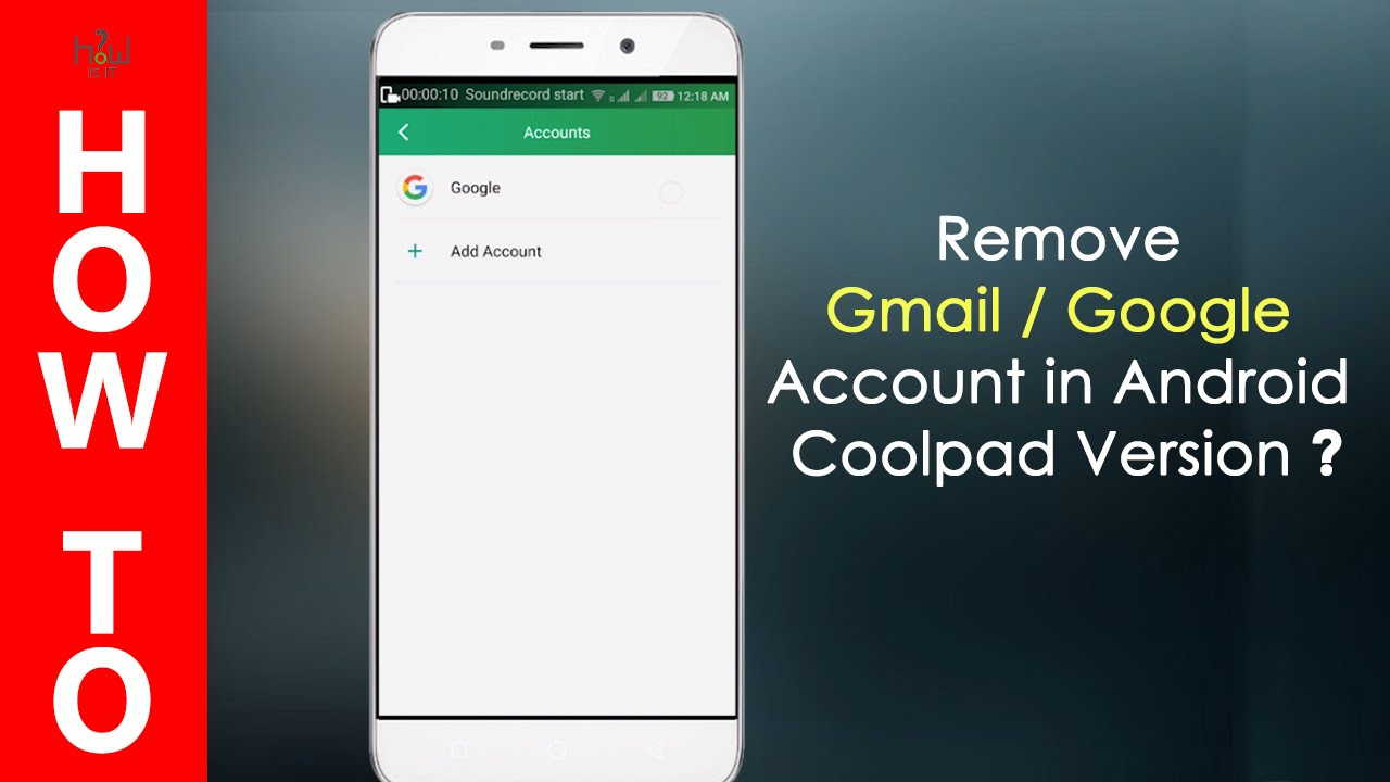 how to delete gmail from android