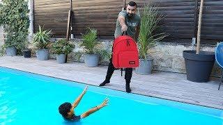 PRANK ,Je jette son sac de l'école dans la piscine, LES BOYS TV 2
