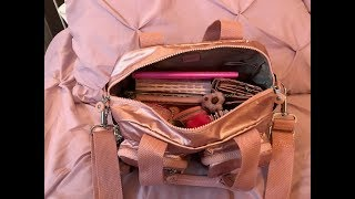 What's in my New Kipling Defea Bag & Matching Accessories Icy Rose Metallic