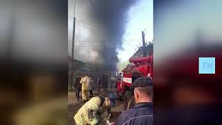 Очевидцы сняли на видео сильный пожар в Елабуге