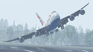 Landing A Boeing 747 In A Hurricane in X-Plane 11