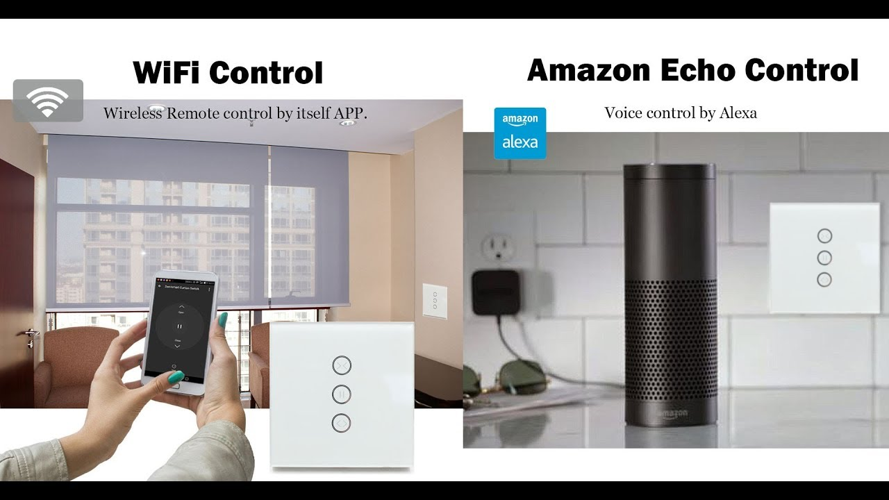 Zemismart smart wifi curtain wall switch and curtain motor work with Amzon  echo app control