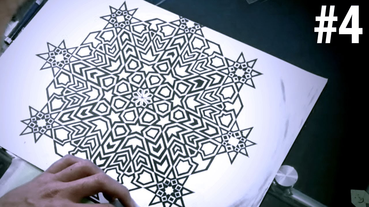 How To Draw Islamic Art - 8 Phases Of The Moon #4 - YouTube