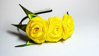 Ободок с розами из атласных лент - Мастер-Класс