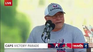 Capitals Coach Barry Trotz speaks at Victory Parade