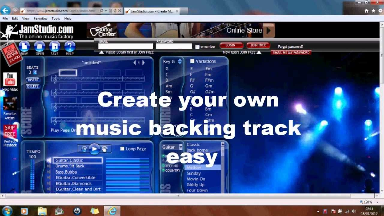 Easy backing track, for your music - simple demo. - YouTube