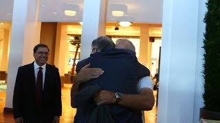 Morris and Trammell embrace after getting into HOF
