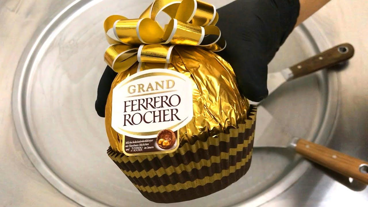 GIANT Ferrero Rocher - Ice Cream Rolls with Chocolate and Hazelnut   homemade ferrero rocher recipe