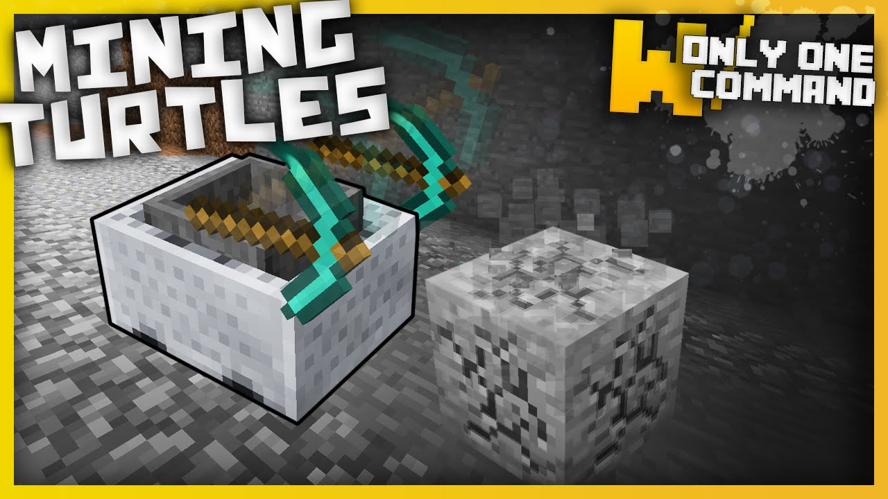 Minecraft - Mining Turtles with only one command block! (1 9 command | No  mods!)