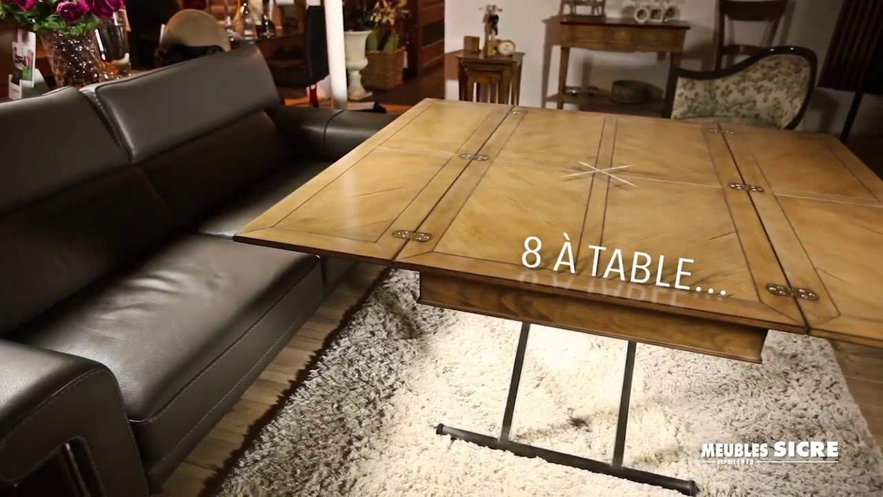 meubles sicre table basse multifonction gain de place youtube. Black Bedroom Furniture Sets. Home Design Ideas