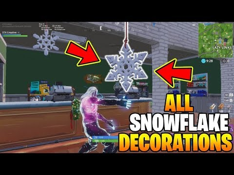 Fortnite All Snowflake Decoration Locations Destroy Snowflake Decorations All 12 Locations Youtube