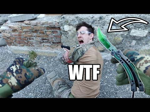 Killing Airsoft Players With REAL CS:GO BUTTERFLY Knife (Emerald)