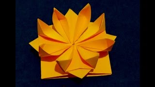 Easy Origami flower. 3d paper flower.  Great decor for gift box.  Ideas for Gift