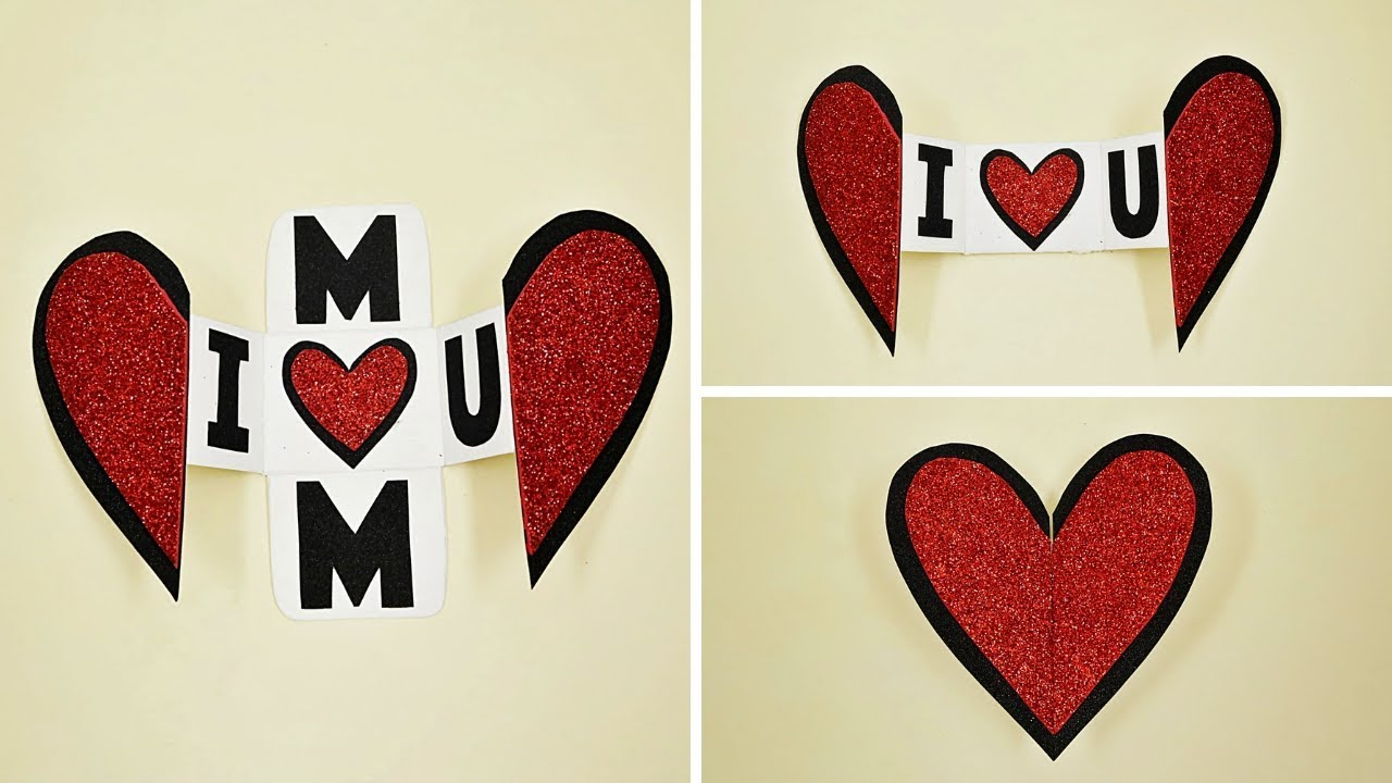 handmade mother's day card  heart shape greeting card for