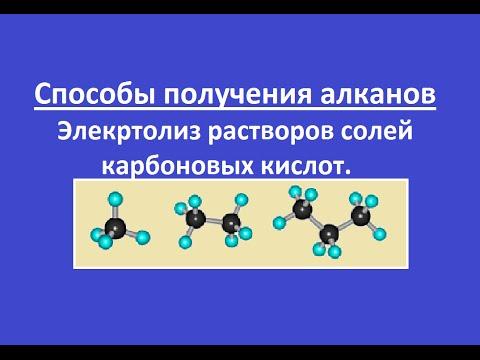 Способы получения алканов. Электролиз водных растворов солей карбоновых кислот.