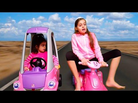 Kids  Ride Trip on pink car