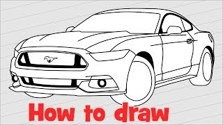 How to draw a car Ford Mustang GT 2017