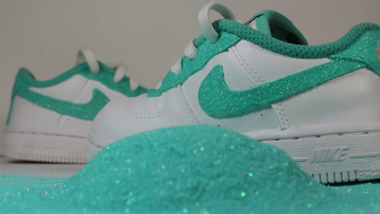 263b74e876ed2a Custom Air Force 1 Tiffany Glitter Air Force 1 Glitter Air Force Ones  Custom Air Force One