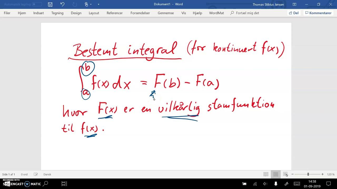spg del 10 del 2a Bestemt integral.  Definition og entydighedsbevis